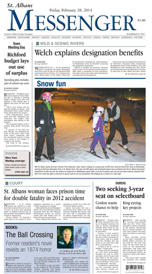 Page 1, St.Albans Messenger, March 28, 2014